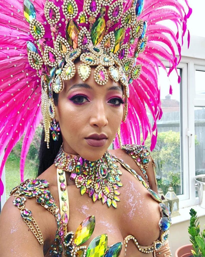 Multi-Colour Rhinestone Choker, Headdress and Bra.