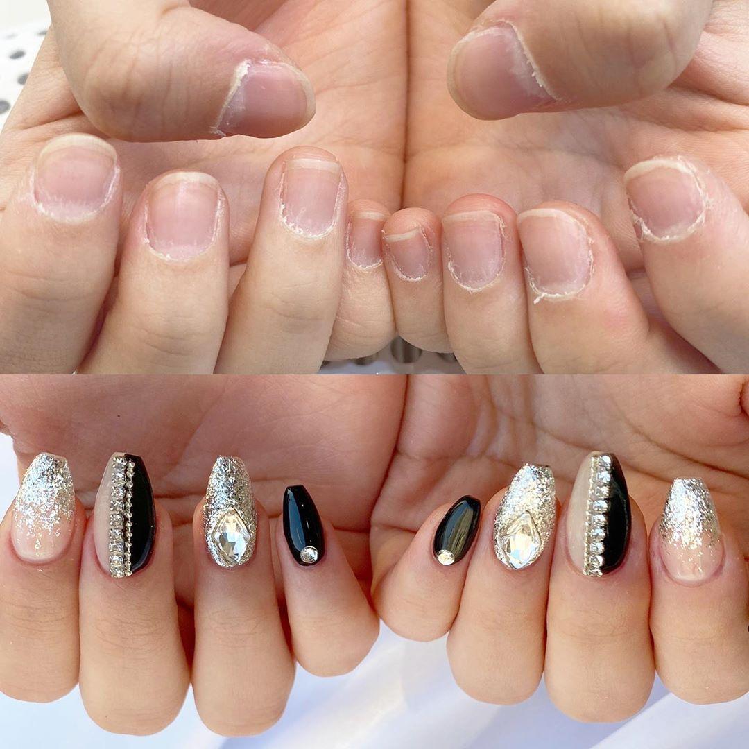 Black and Silver Glittering Nail Polish with Rhinestones Nail Art