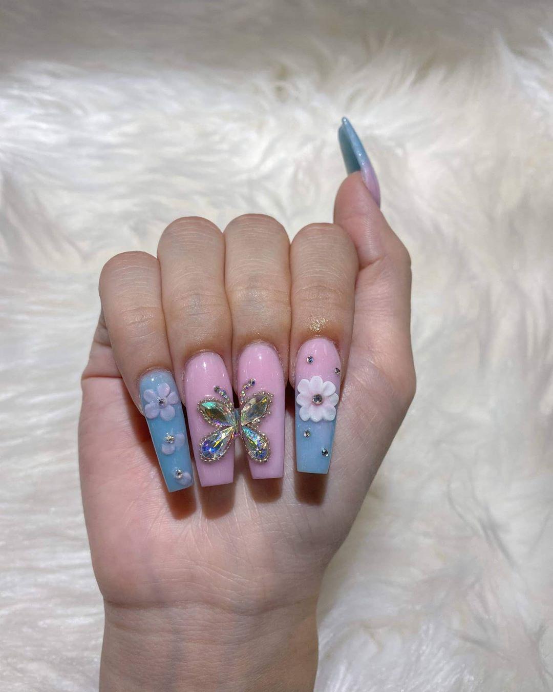 Pink and Blue Nailpolish Matt Finish with Butterfly Inspired Rhinestones Art