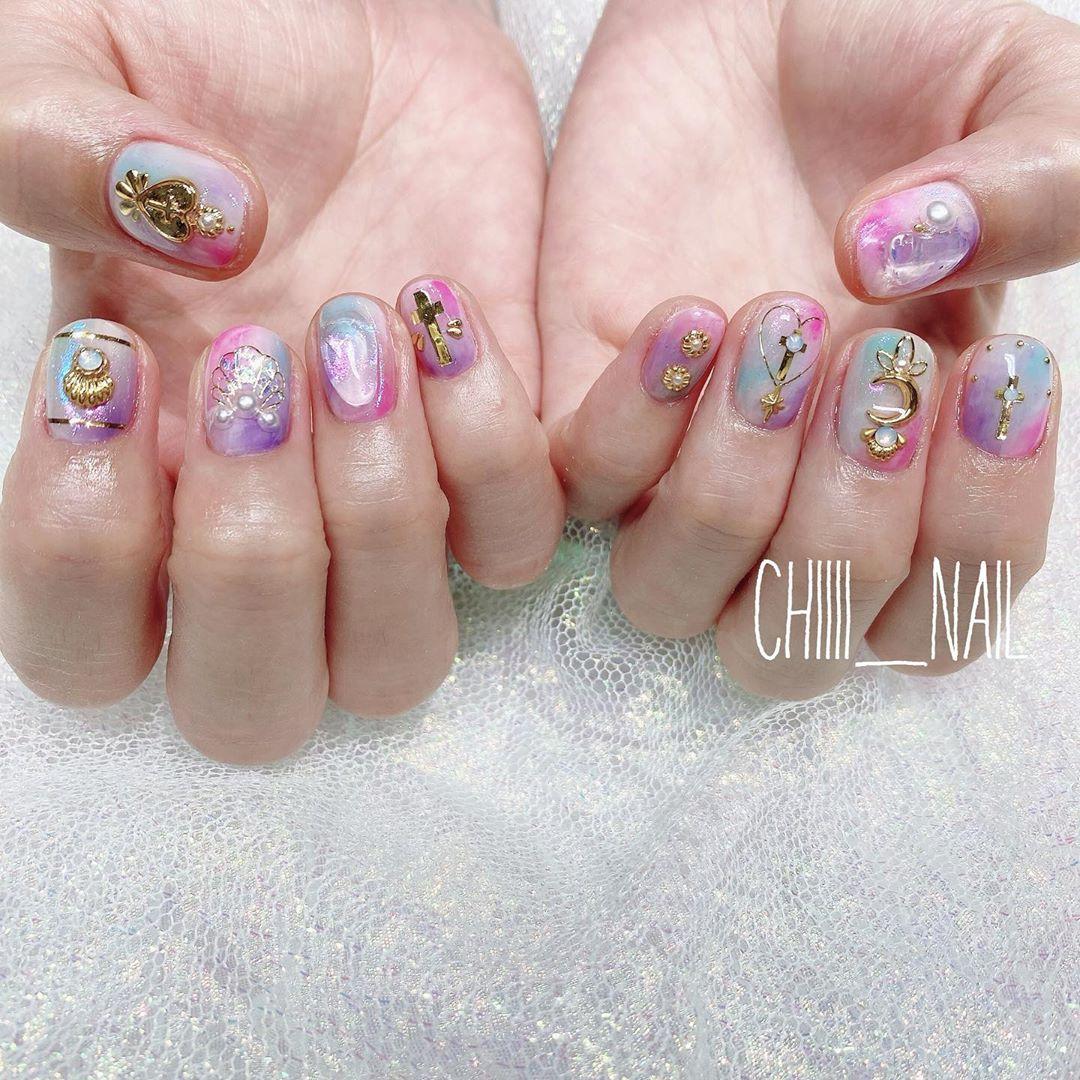Pink and Purple Nail Polish with Rhinestones Nail Arts