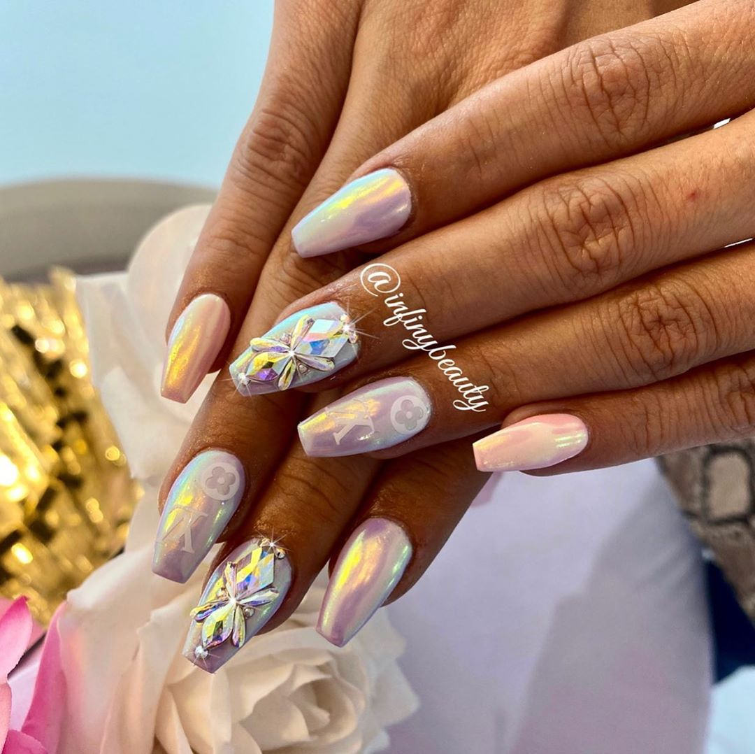 Pearl White Nail Polish with Clear Crystal Rhinestones Nail Art