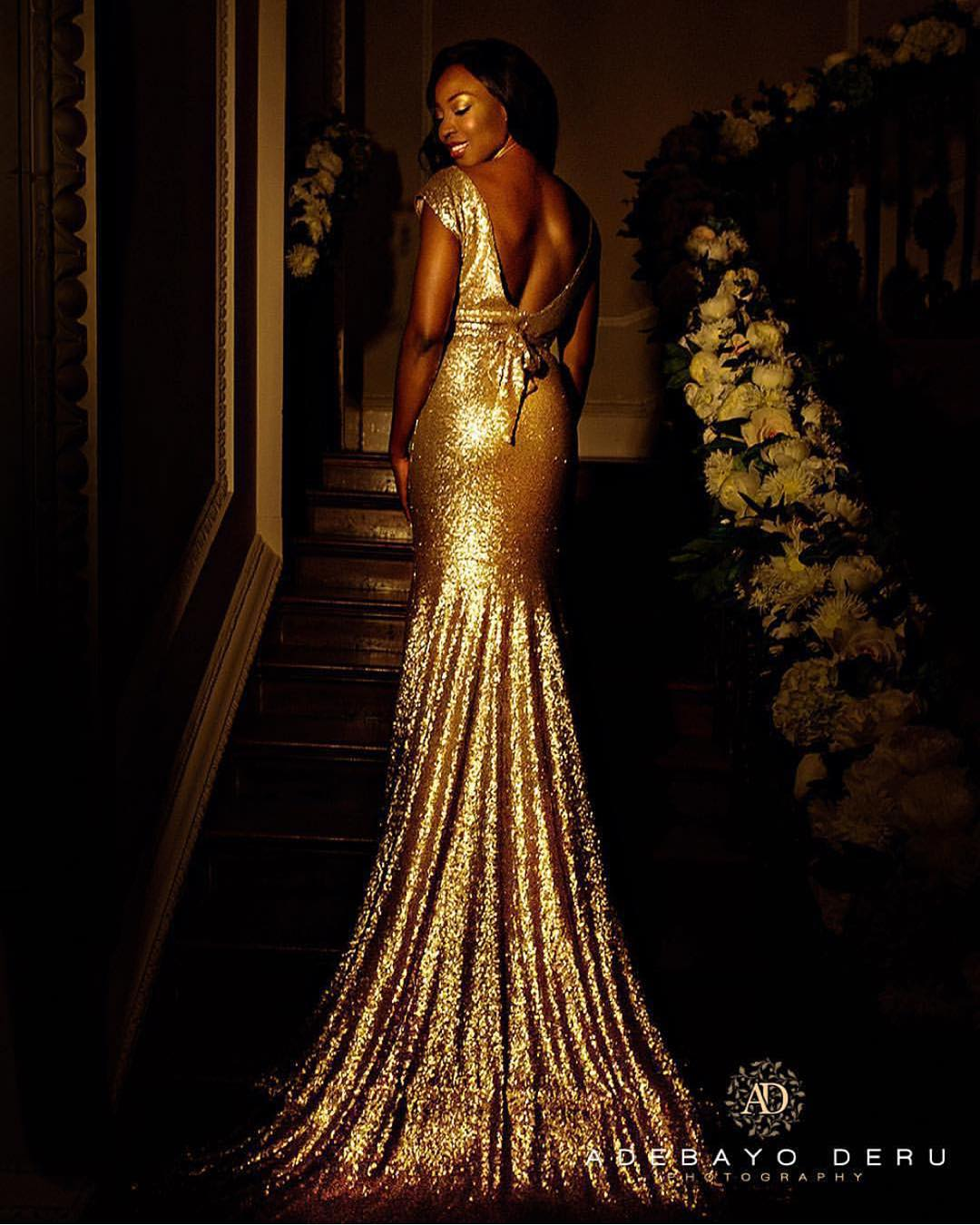 Gold Sequins Long Bride Gown with Train and Open Back.