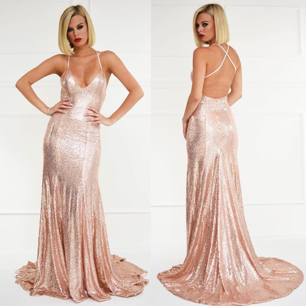 Rose Gold Backless Long Sequin Gown with Spaghetti Straps