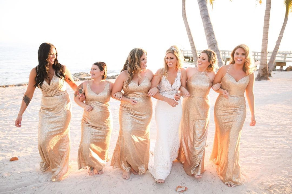 Champagne Gold Sequin Fabric Long Bridesmaid Gowns.