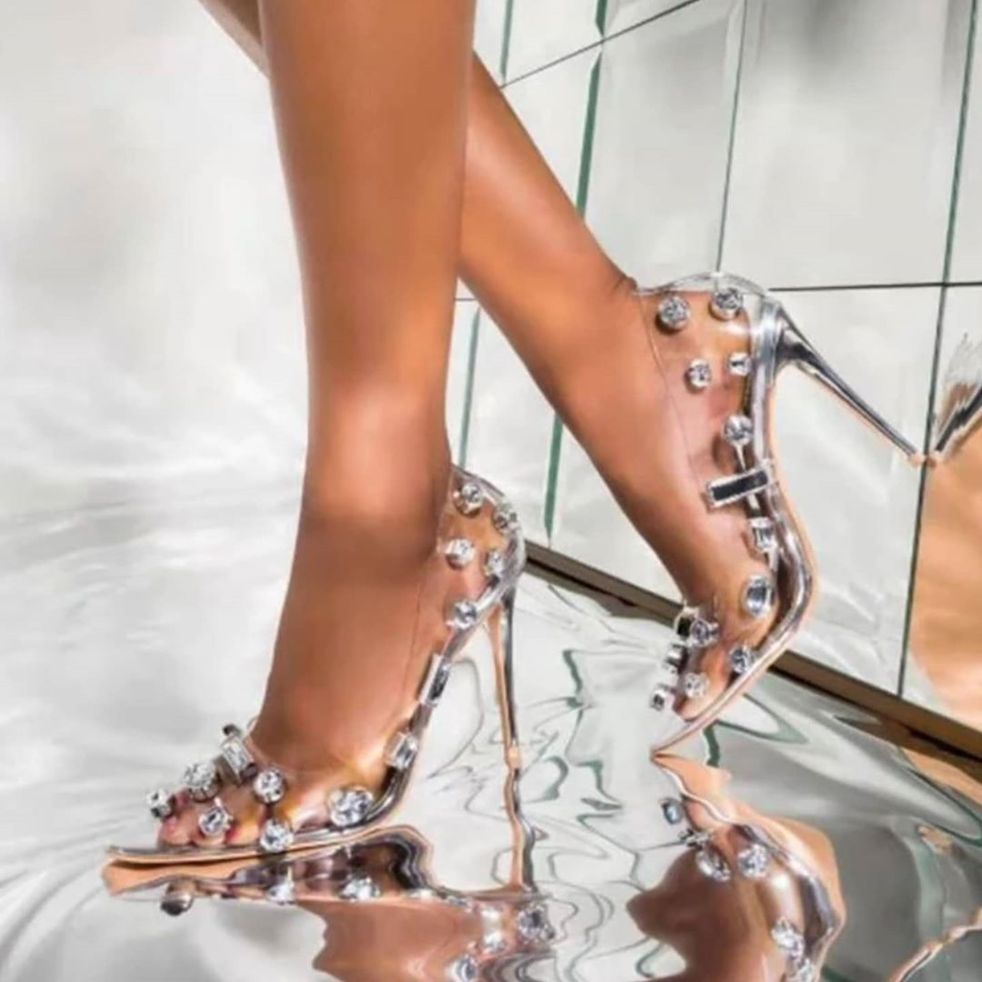 Women's See Through High Heel Pointed Toe With Rhinestones.