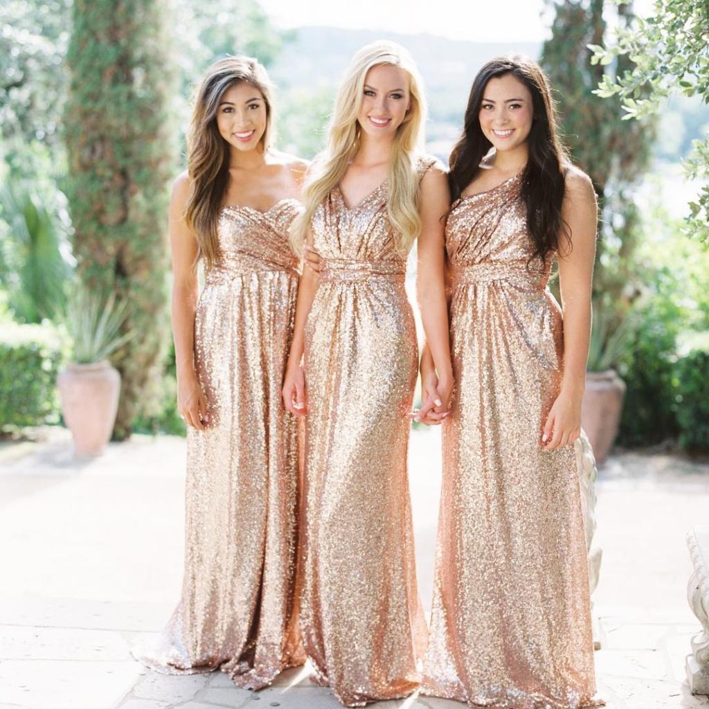 Rose Gold Sequin Bridesmaid Dresses.