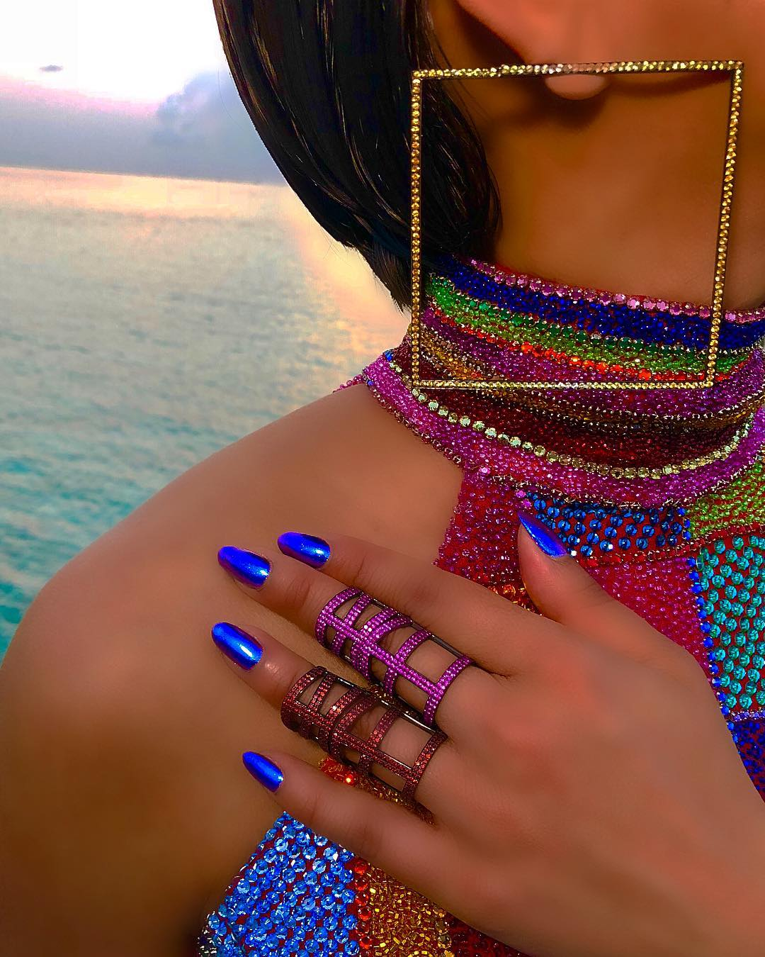 Multi Colour Rhinestones Dress With Chinese Colar & Matching Accessories.