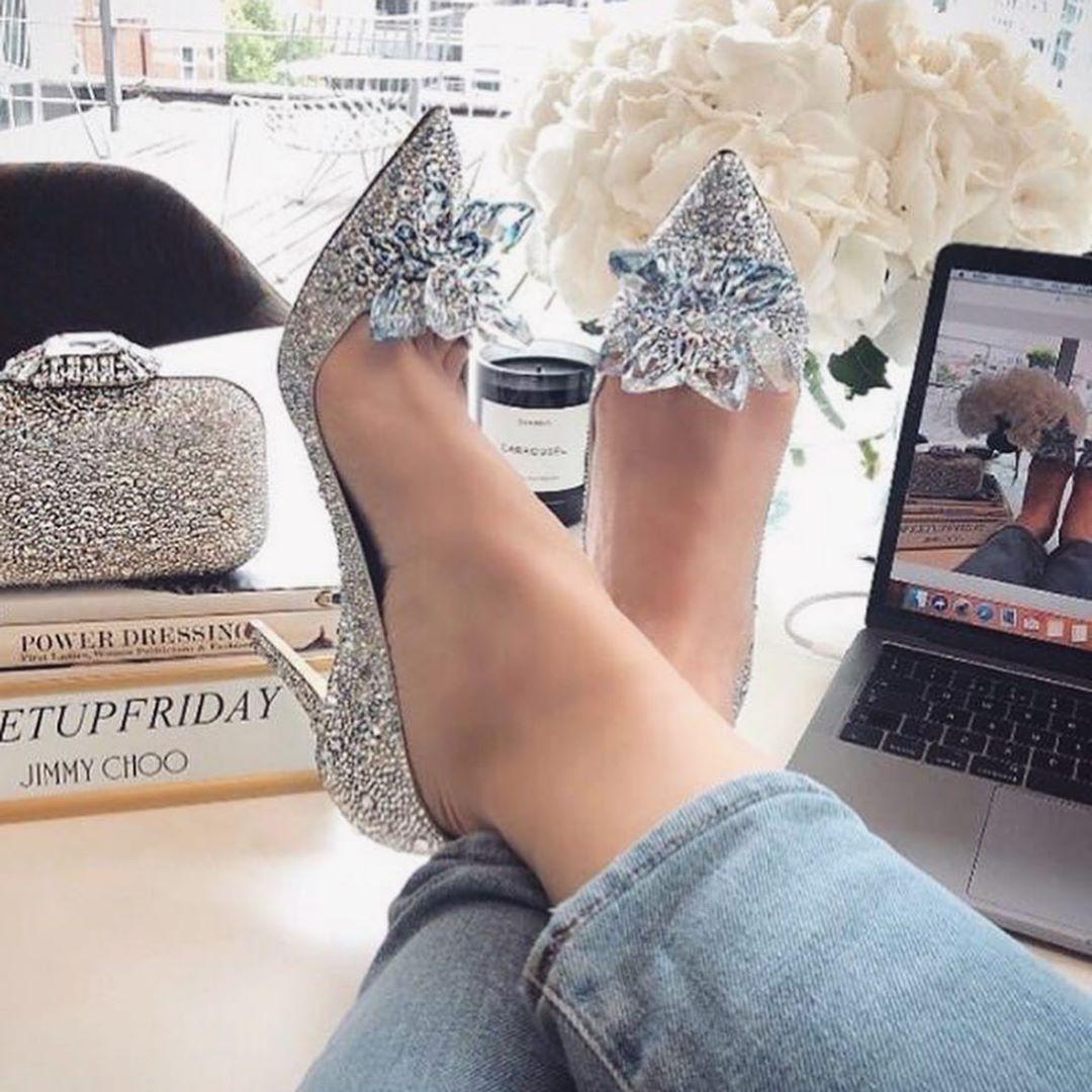 Women's Crystal Pointed High Heels Shoe.