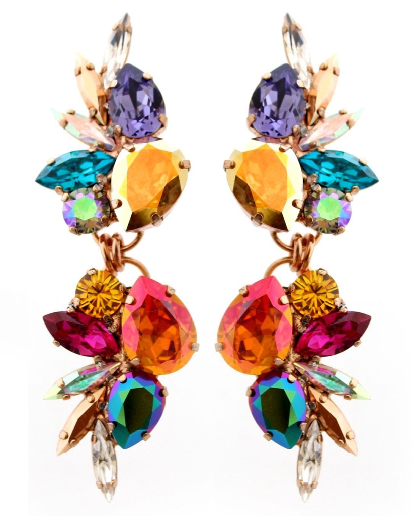 Colourful Gem Stone Hanging Earring Jewelry Online