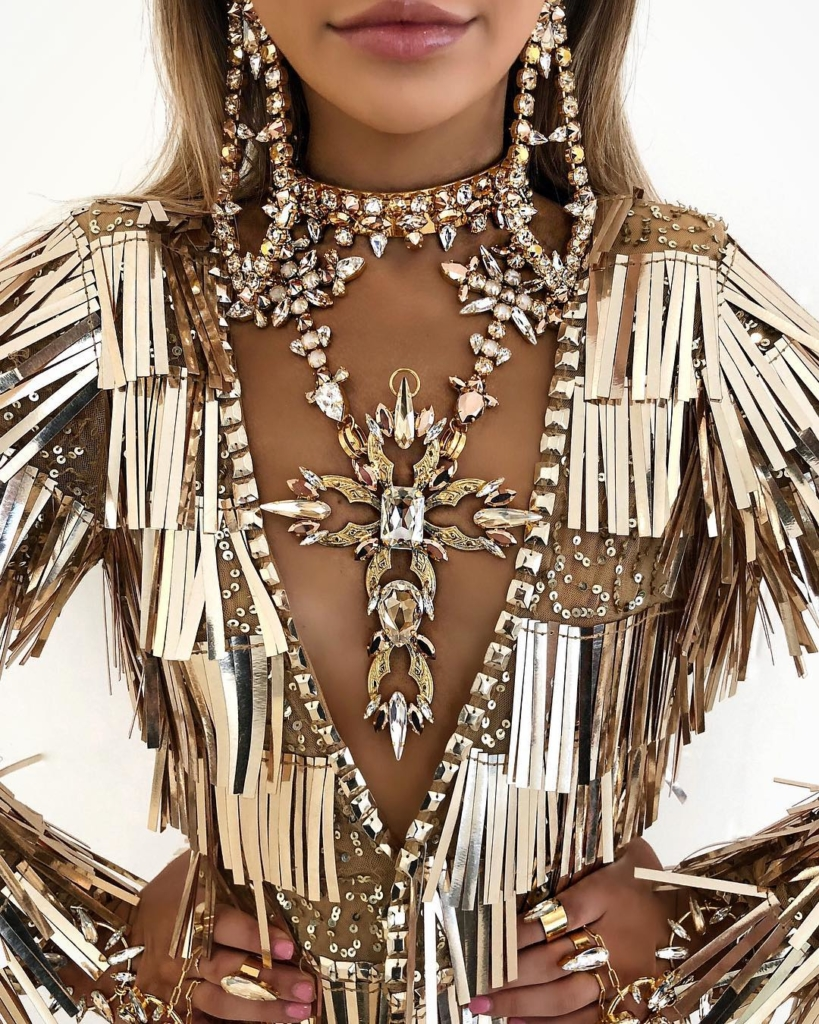Gold Hanging Sequins Dress with Earrings, Necklace & Rings.