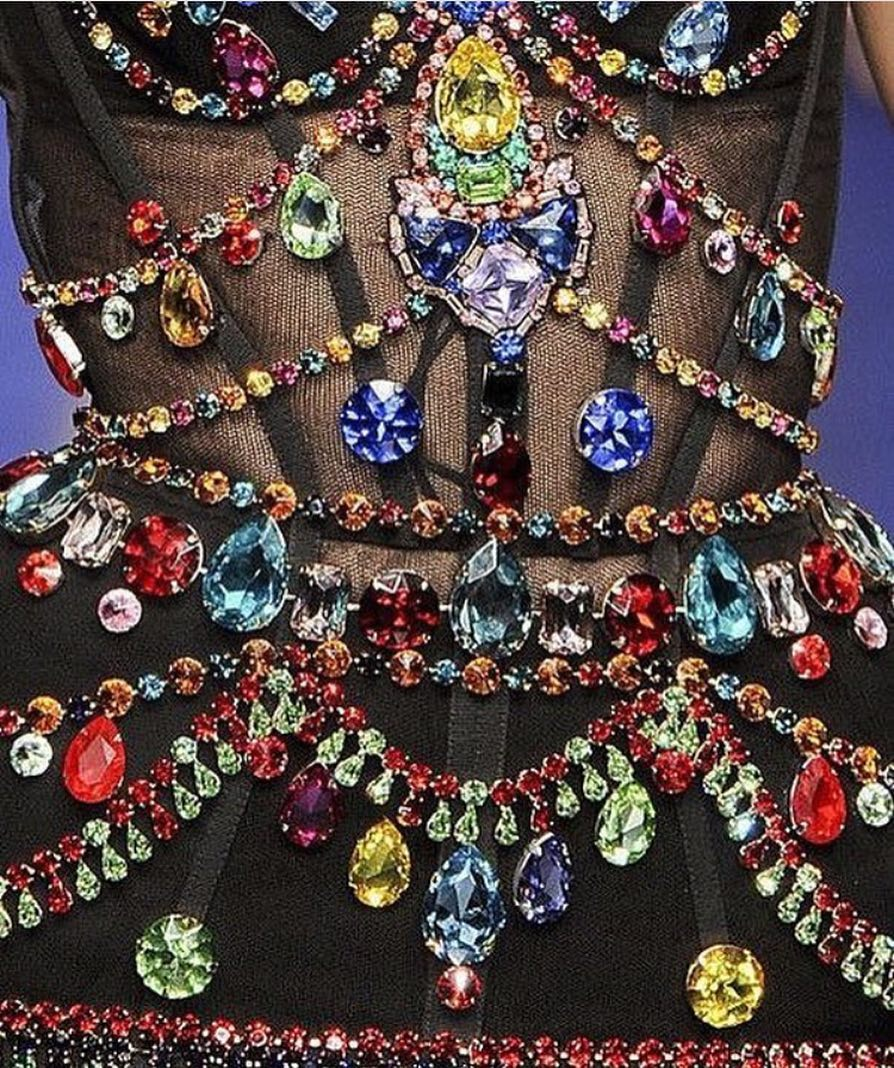 Black Corset with Big Bling Colorful Rhinestones