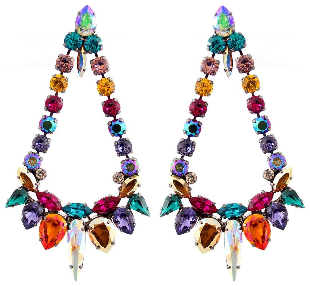 Rainbow Colour Crystal Chandelier Earrings Jewelry Online