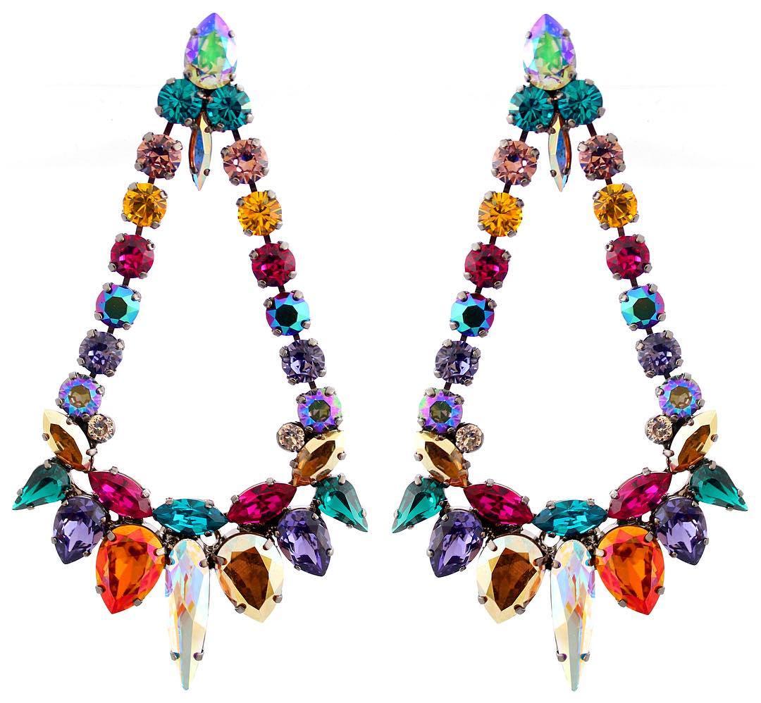 Rainbow Colour Crystal Chandelier Earrings Jewelry Online