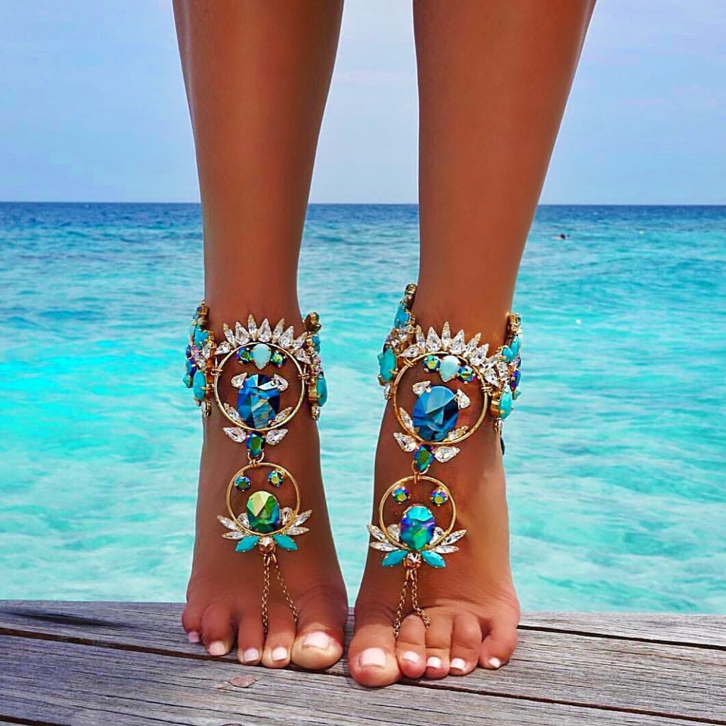 Unusual Jewelry Online Turquoise Crystal Anklet