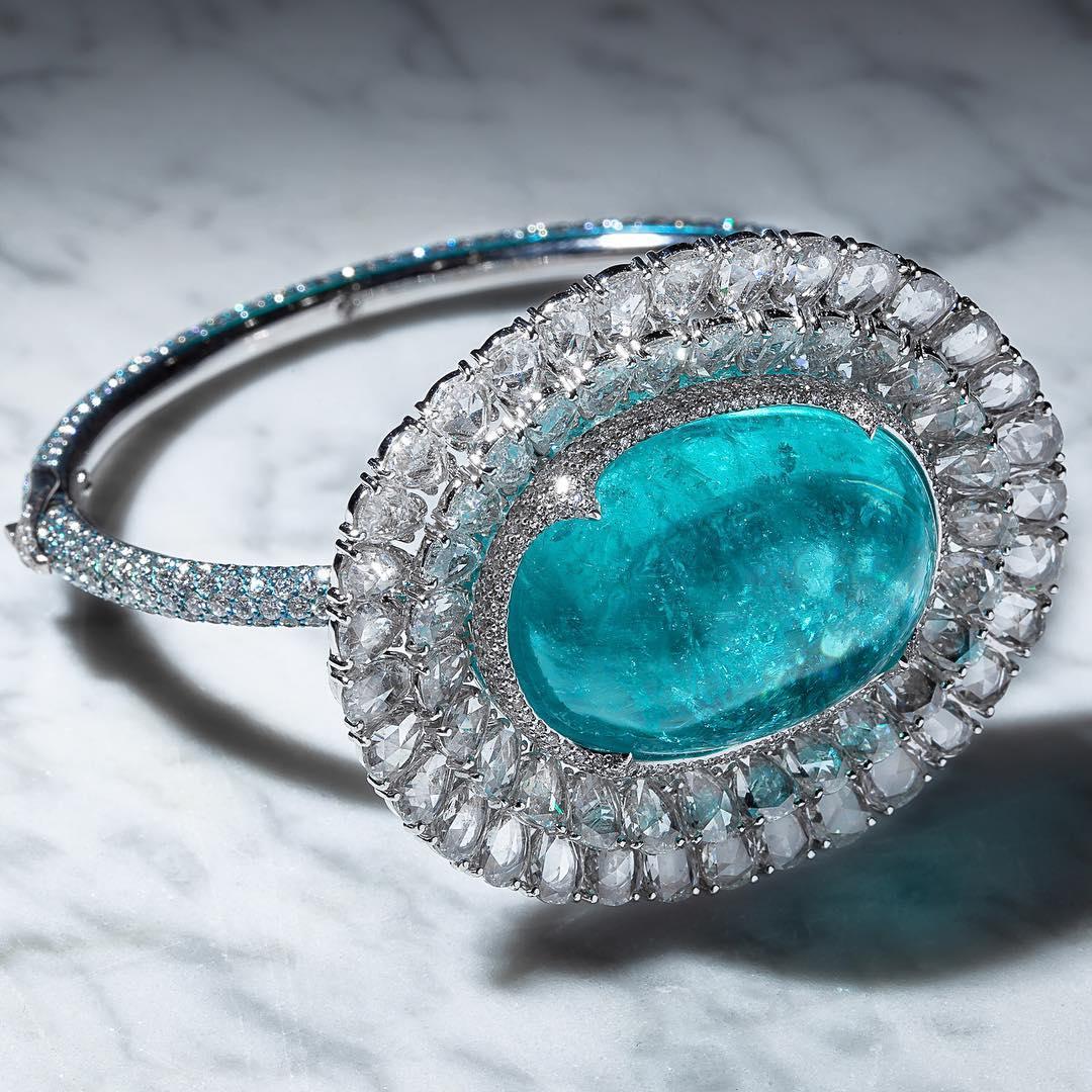 Tourmaline Gem with Diamonds Bangle