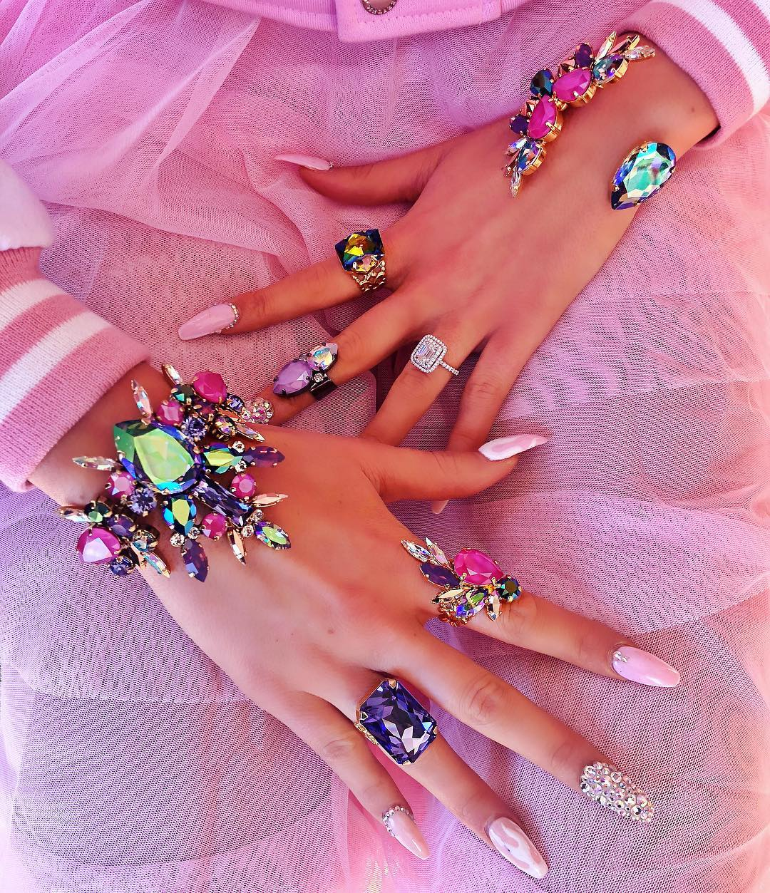 Best Jewelry Online: Cuff and Rings Multicolored Rhinestones Jewelry Online