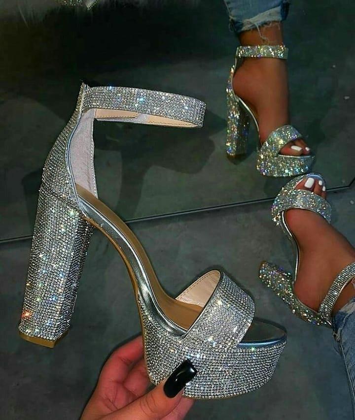 Silver Rhinestones High Heel T-Strap Sandals.