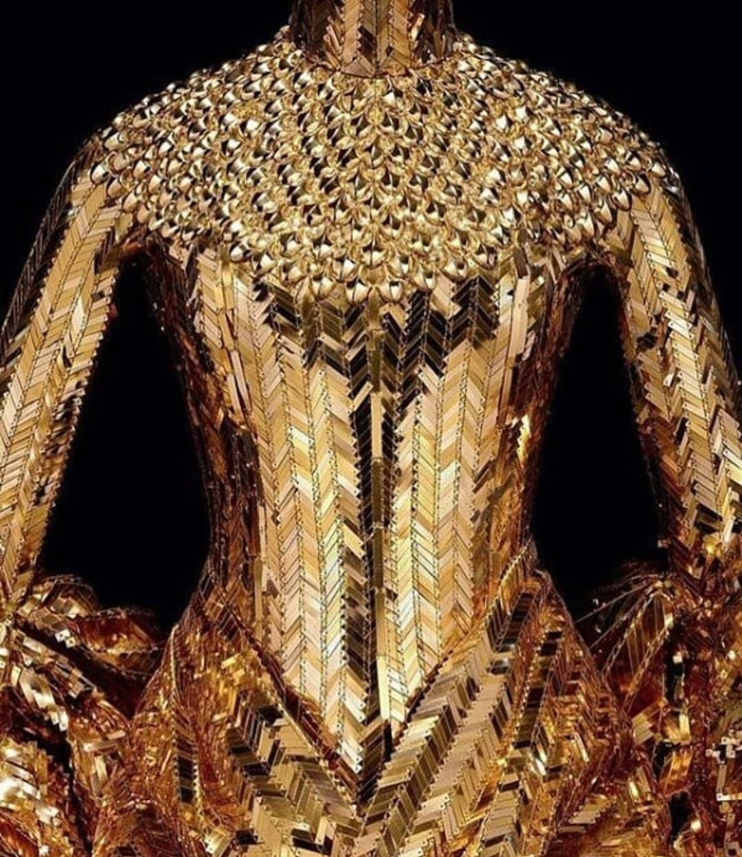 Golden Sequin Armour Long Sleeve Dress with Chinese Collar.