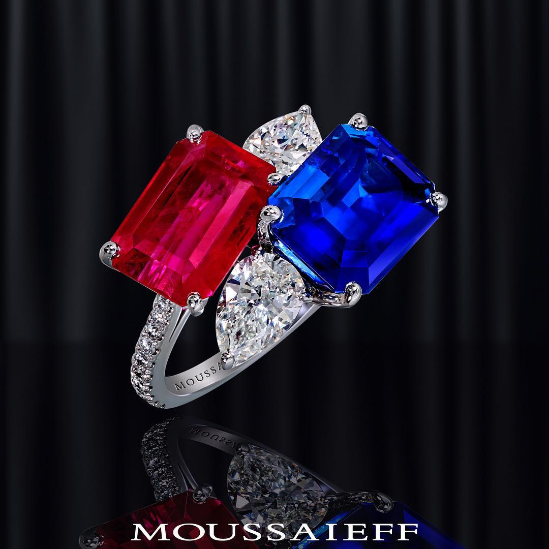Best Jewelry Online: Sapphire and Ruby with Clear Diamonds On White Gold Ring