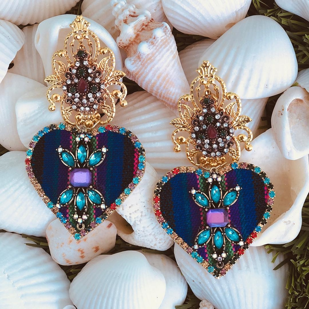 Unusual Fabric Jewelry Online with Colourful Rhinestones Hanging Earings