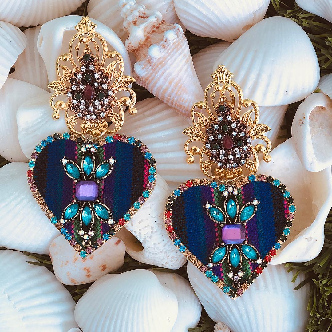 Best Jewelry Online: Unusual Fabric Jewelry Online with Colourful Rhinestones Hanging Earings