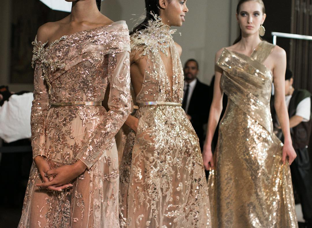 Haute Couture Spring Summer Collections Featuring Gold Long Sequin Gowns.