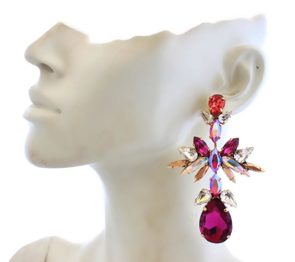 Chandelier Fuchsia and Clear White Stone Hanging Earrings Jewelry Online