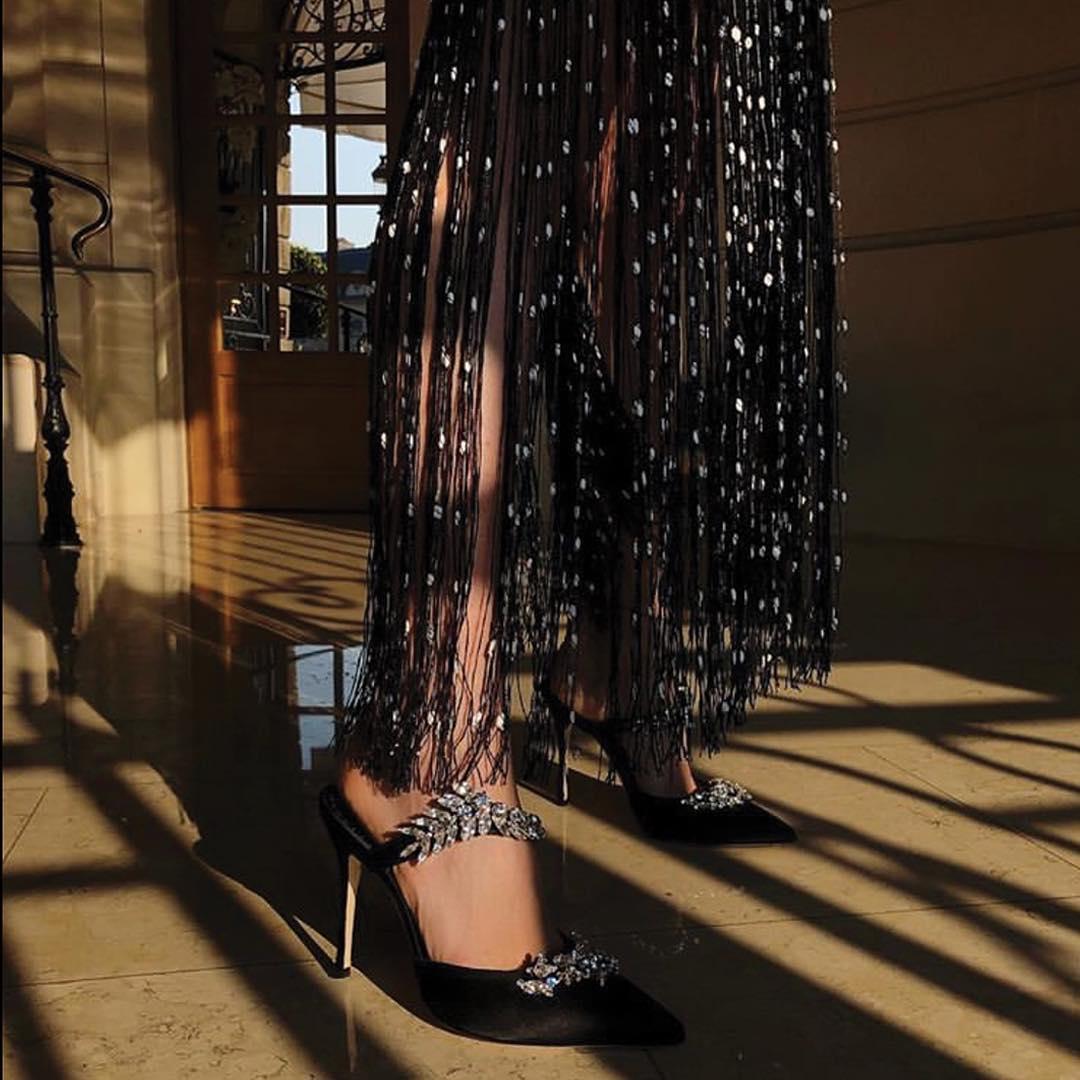 Black Pointed Toe Pumps with Swarovski Crystals.