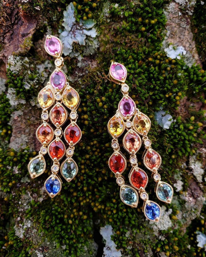 Multi-Colour Gem Stones Hanging Earrings Jewelry Online