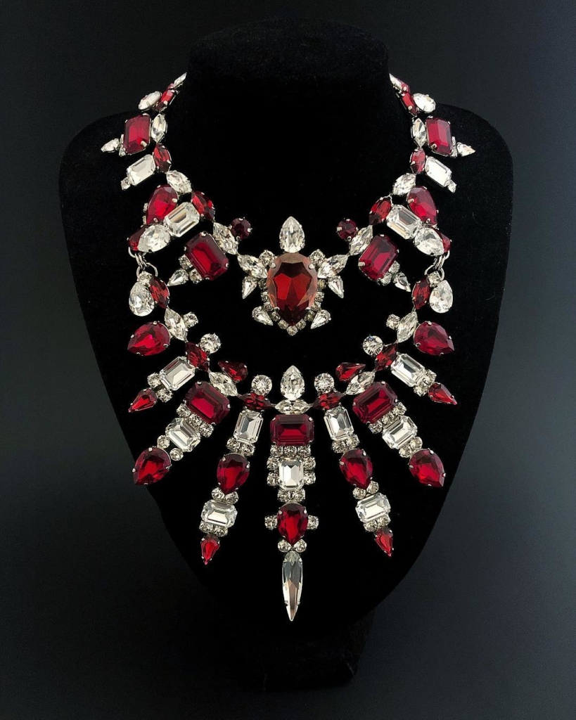 Ruby Crystals with Clear Stones Choker