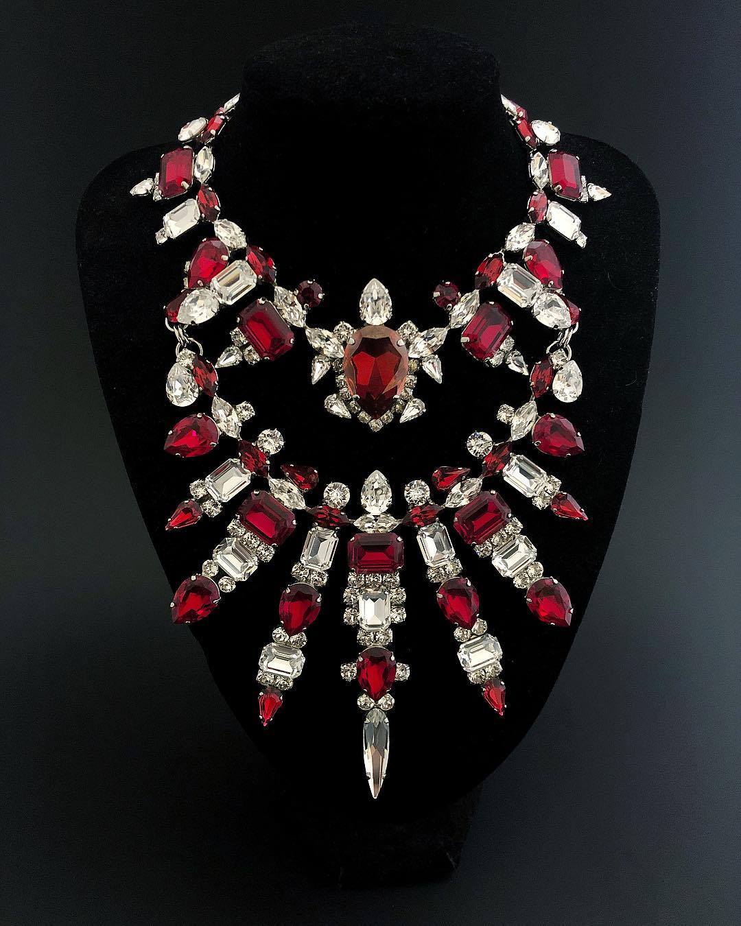 Best Jewelry Online: Ruby Crystals with Clear Stones Choker