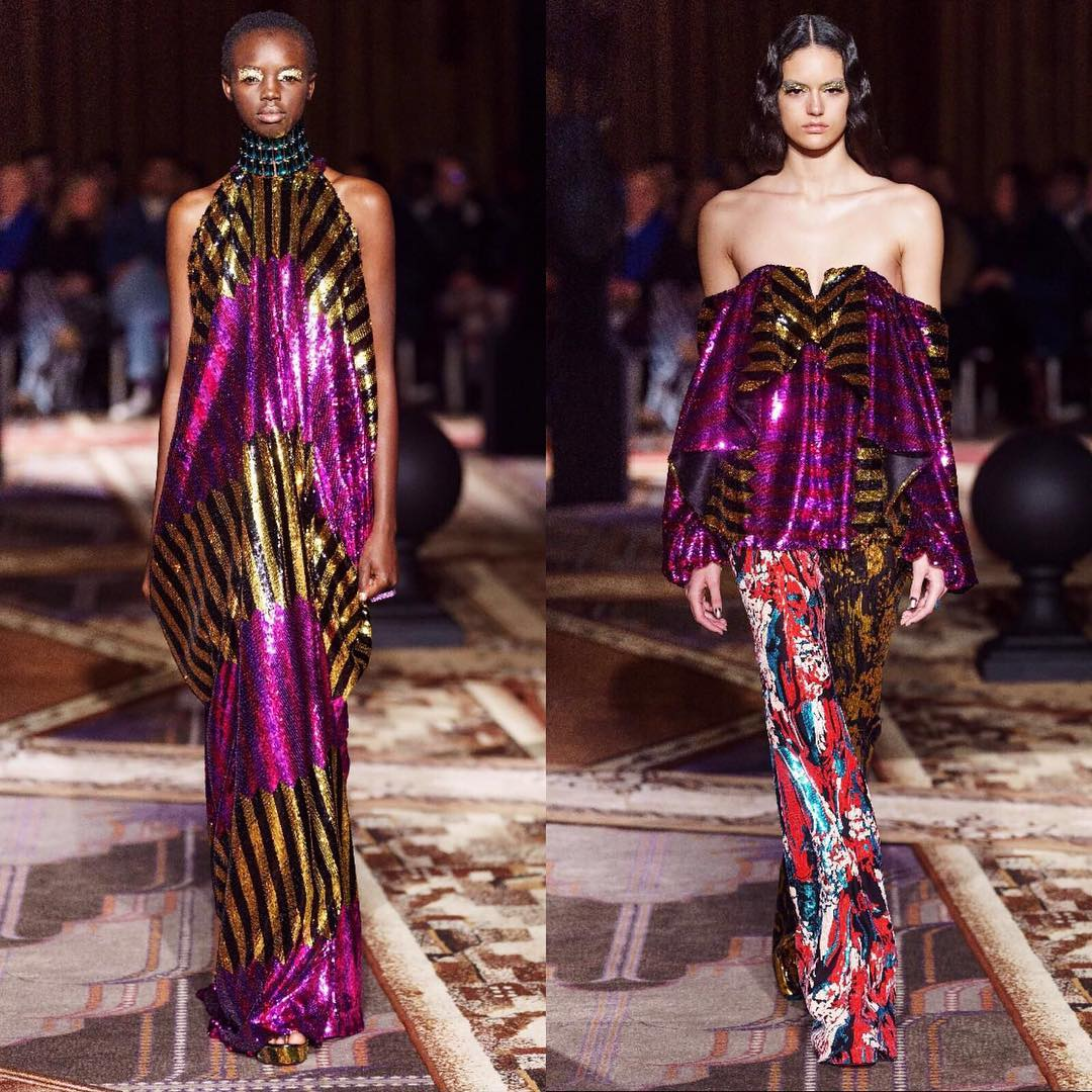 Multicolor Sequin Dreses with Black and Gold Stripes and Fuchsia.