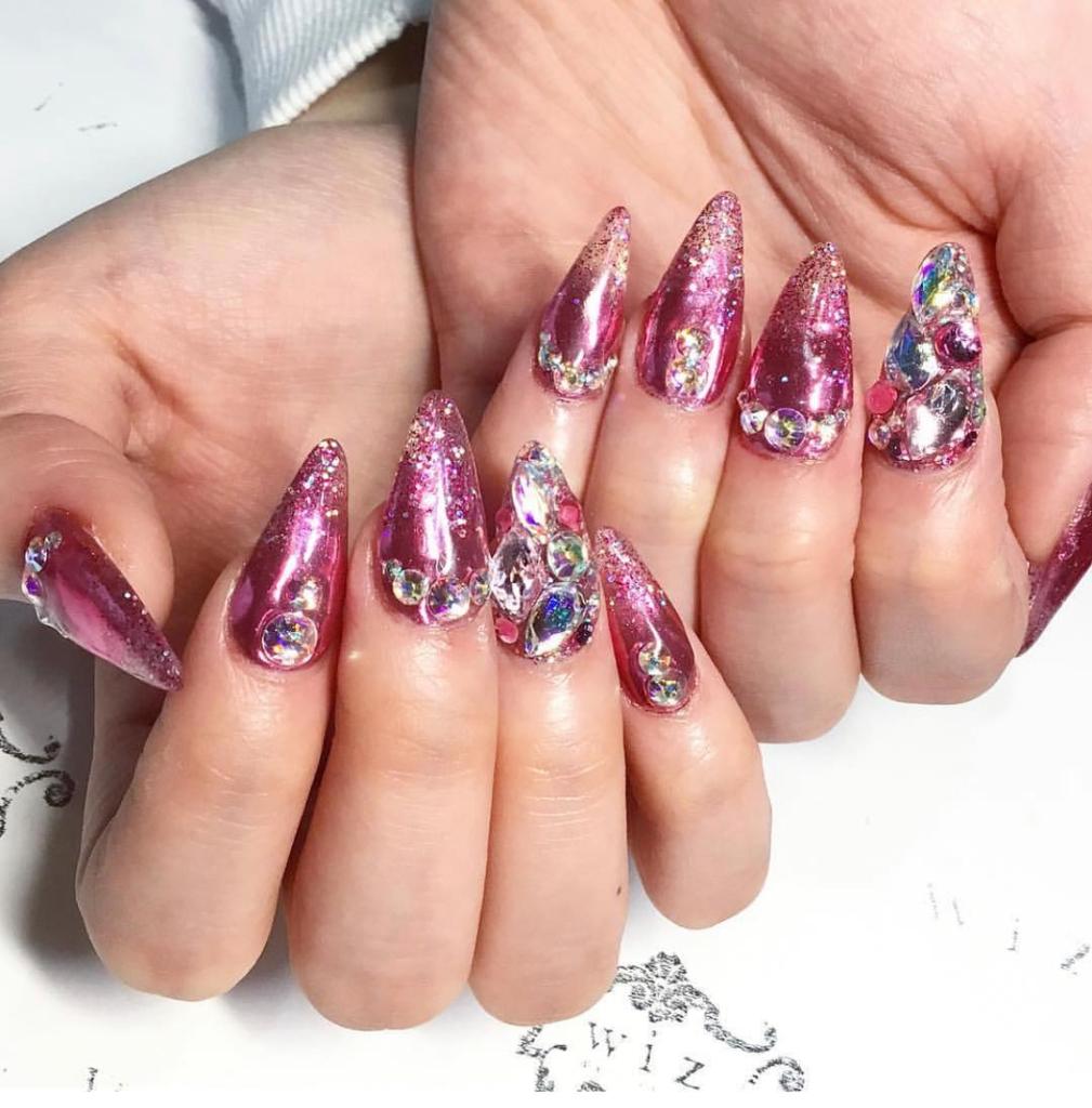 Dark Pink Nail Polish with Rhinestones Nail Art