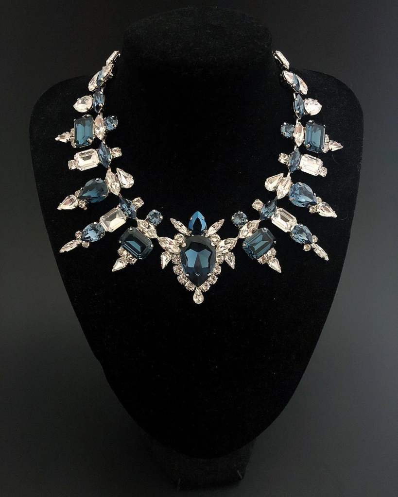 Sapphire and Clear Rhinestone Necklace