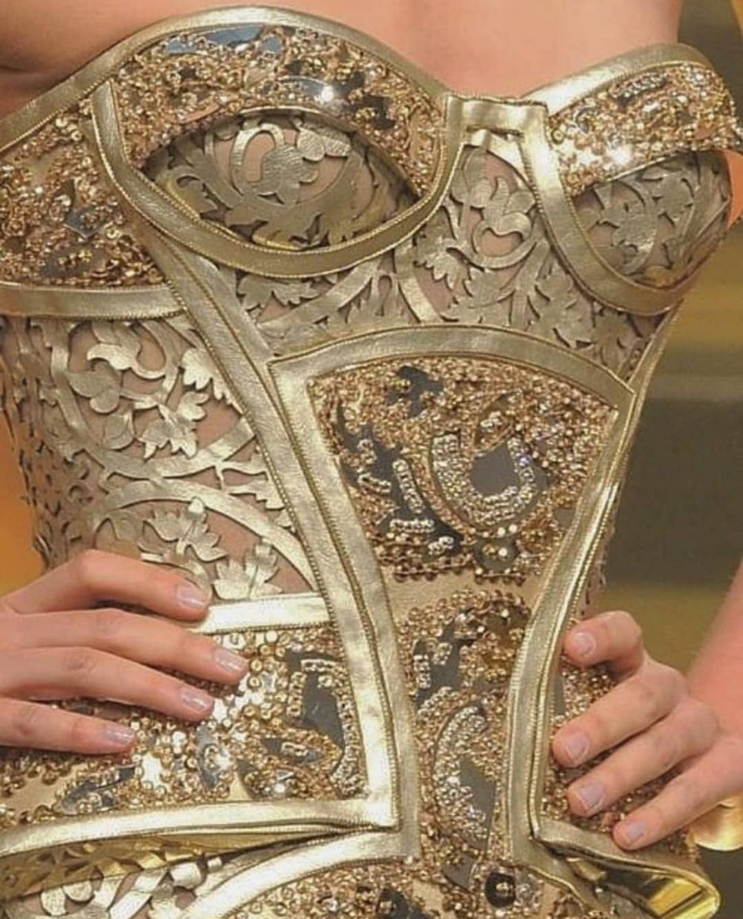 Strapless Gold Couture Sequin Corset.