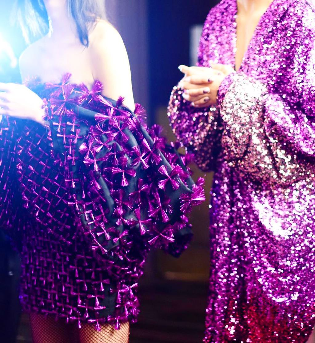 Purple and Lilac Colorful Sequin Dress with Long Sleeves and Deep V-Neck.