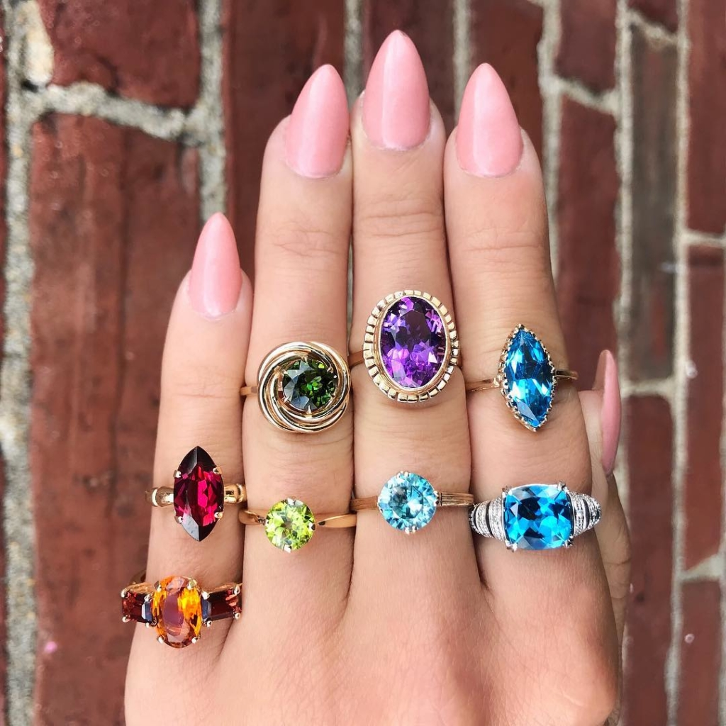 Colourful Gem Stones In Yellow Gold Rings