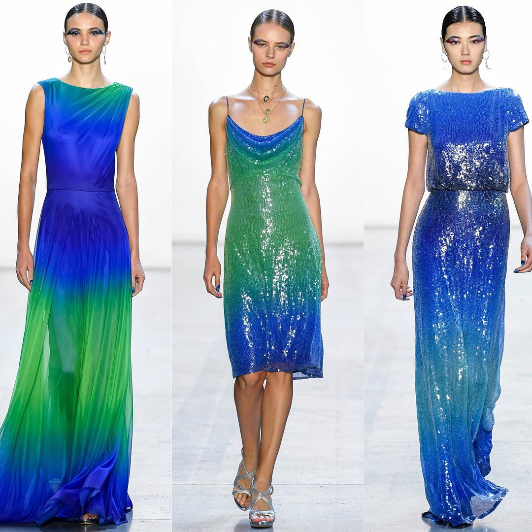 Torquise Blue And Green Sequin Dresses.