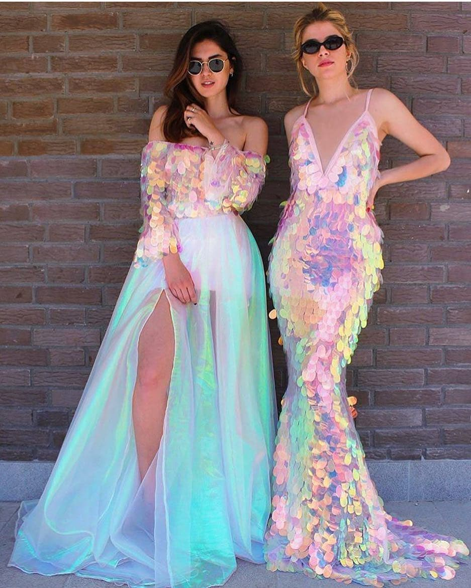 Jumbo Iridescent Pink Sequins Long Gown with Deep V-Neck and Spaghetti Straps.