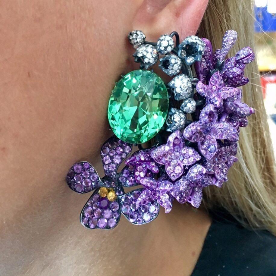 Best Jewelry Online: Purple and Green Crystal Earrings