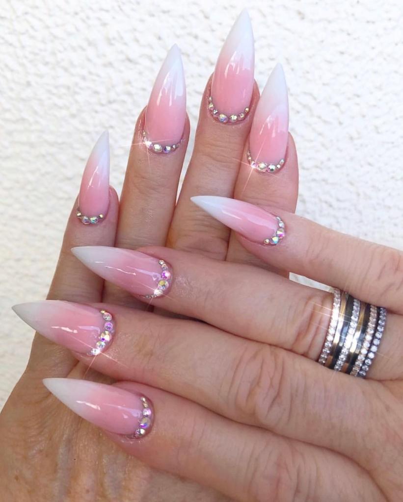Pearl White/Pink Shade Nail Polish With Rhinestones