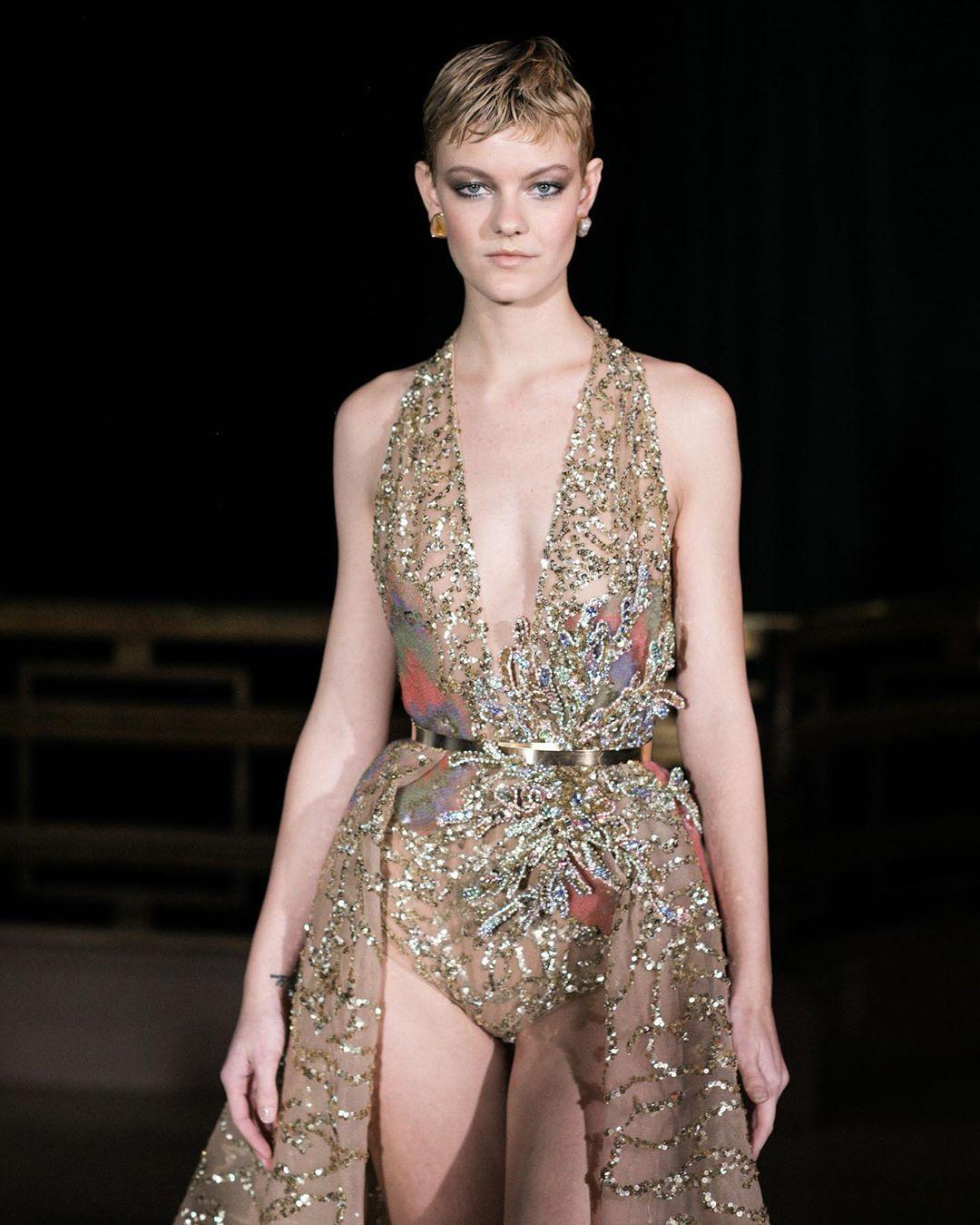 Women's Gold Sequin Leotard with Overskirt