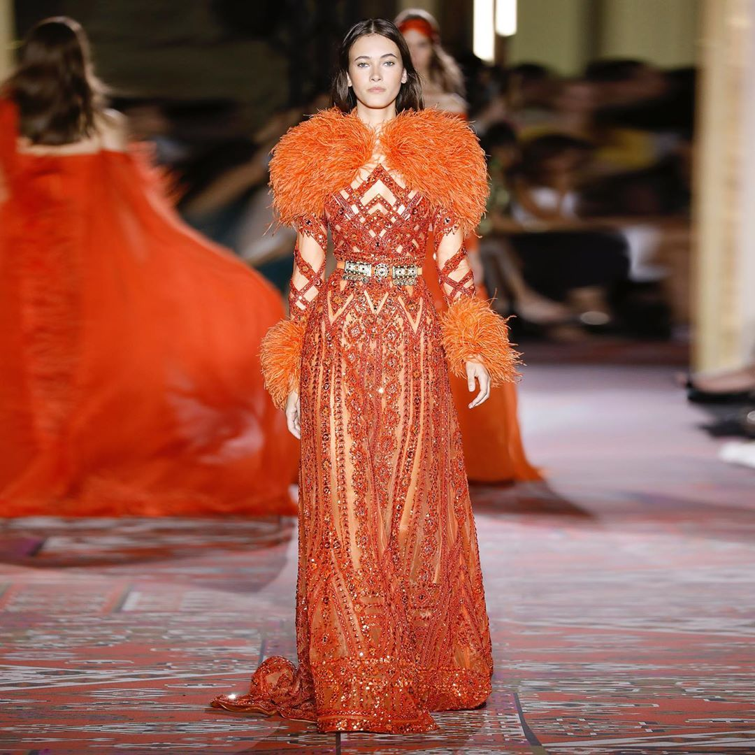 Orange Long Gown with Perfect Sequins & Beads Detailing.