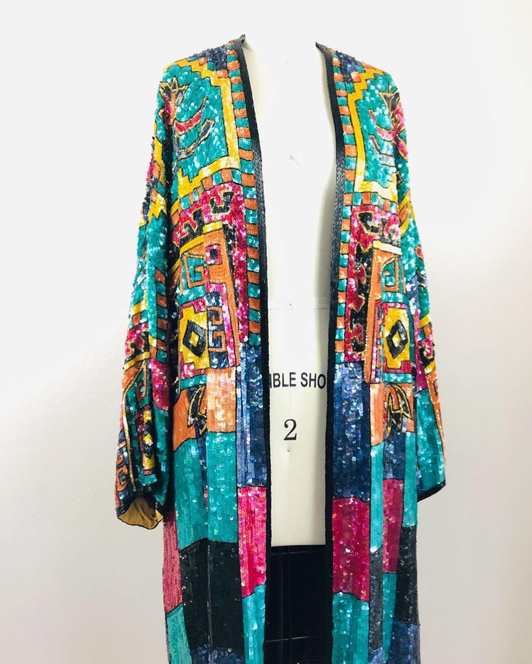 Wrap Multicolor Sequin Coat Dress