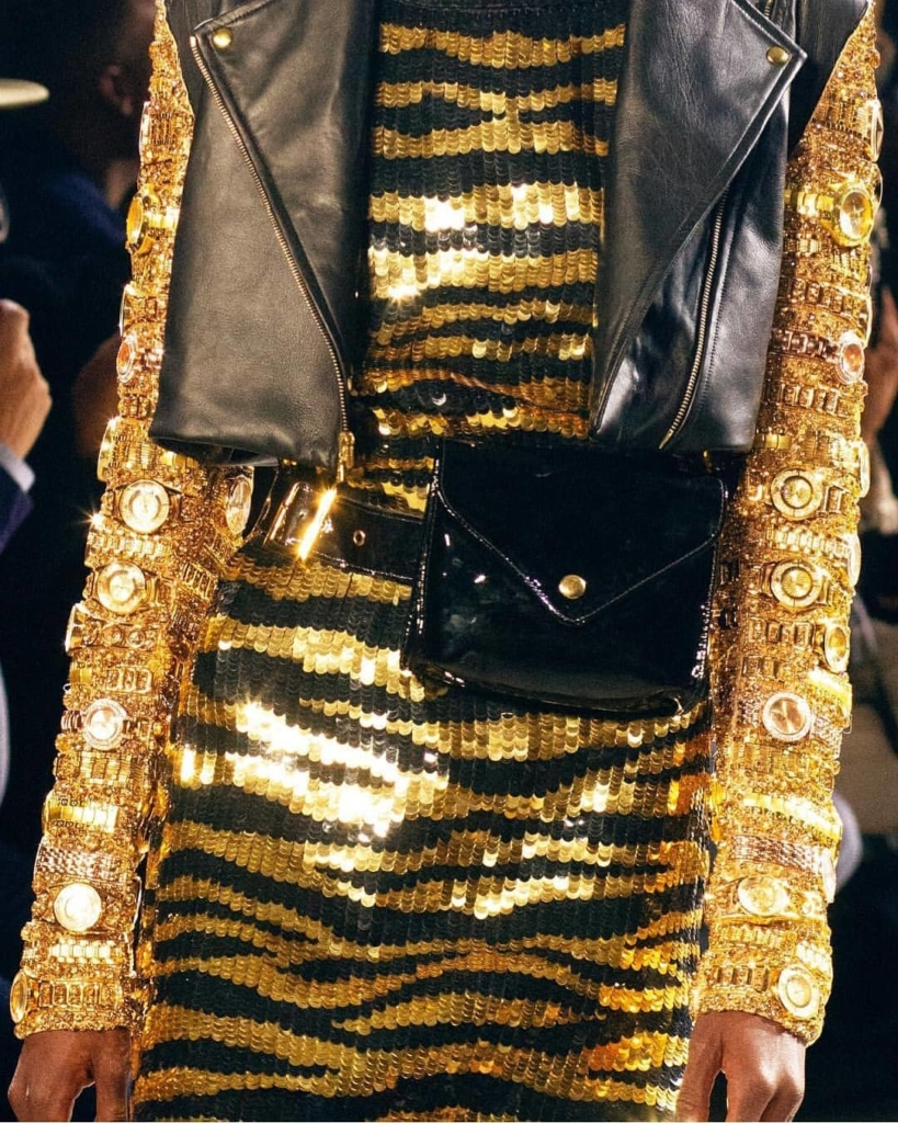 Gold & Black with Watches Long Sleeves Sequin Glitter Outfit.
