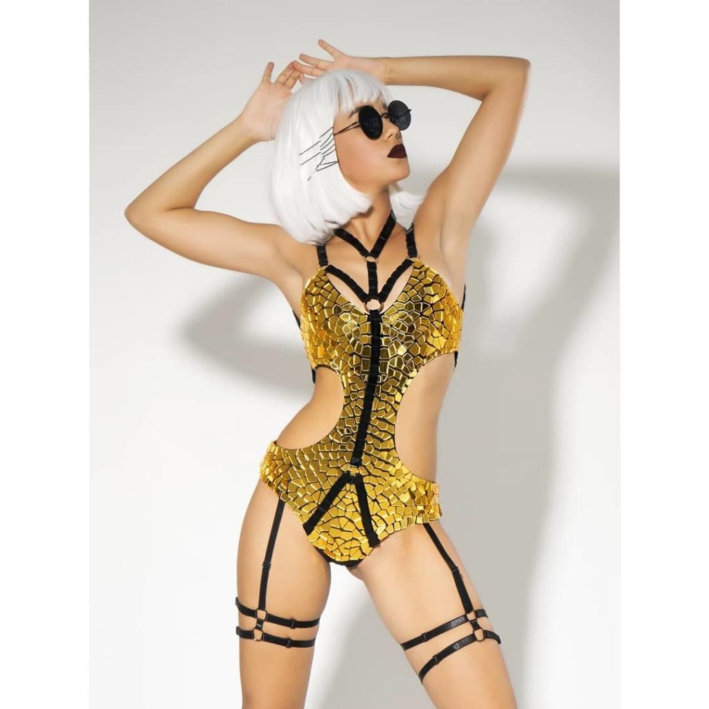 Gold & Black Mirror Bodysuit Beach & Swimwear.