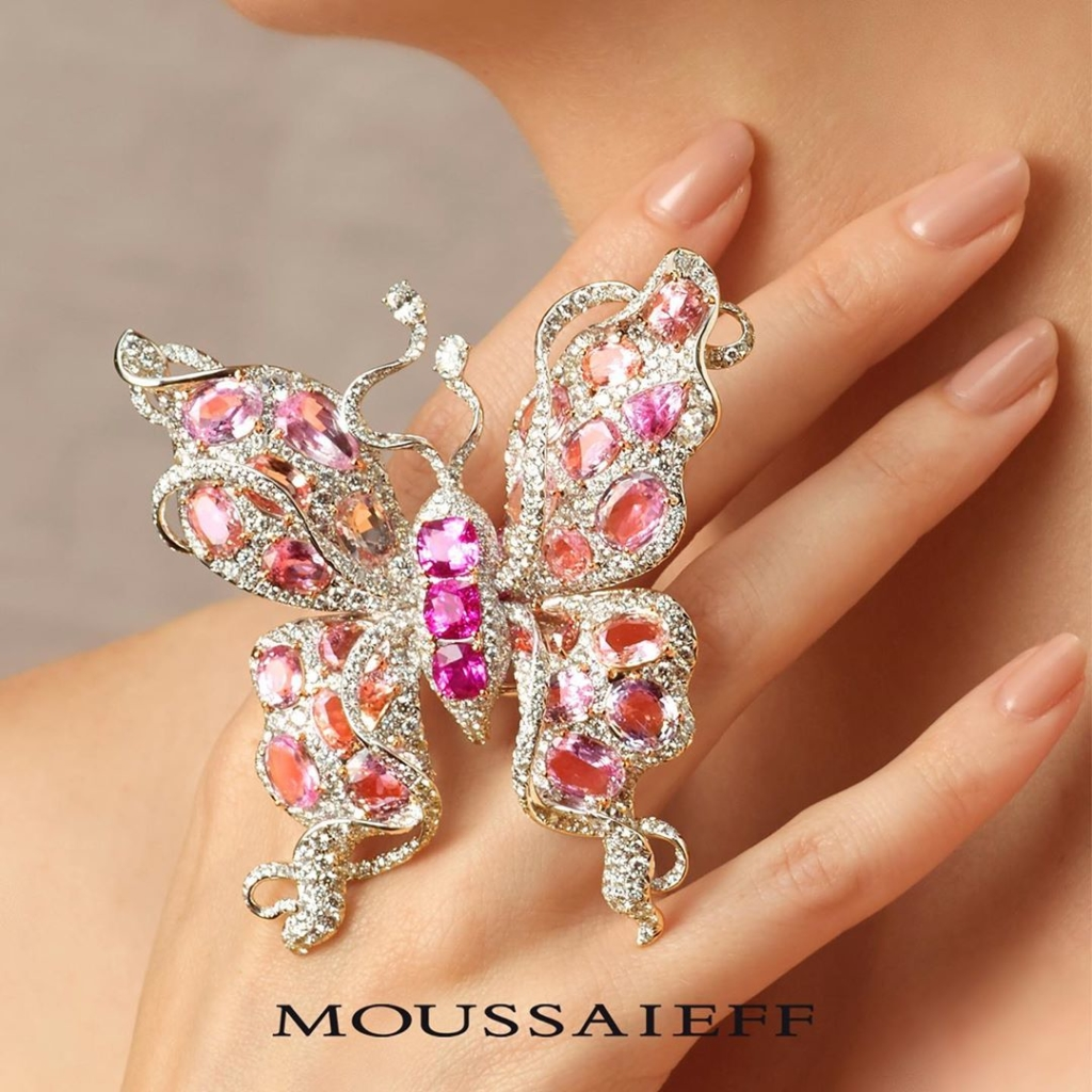 Pink and White Diamonds Butterfly Ring