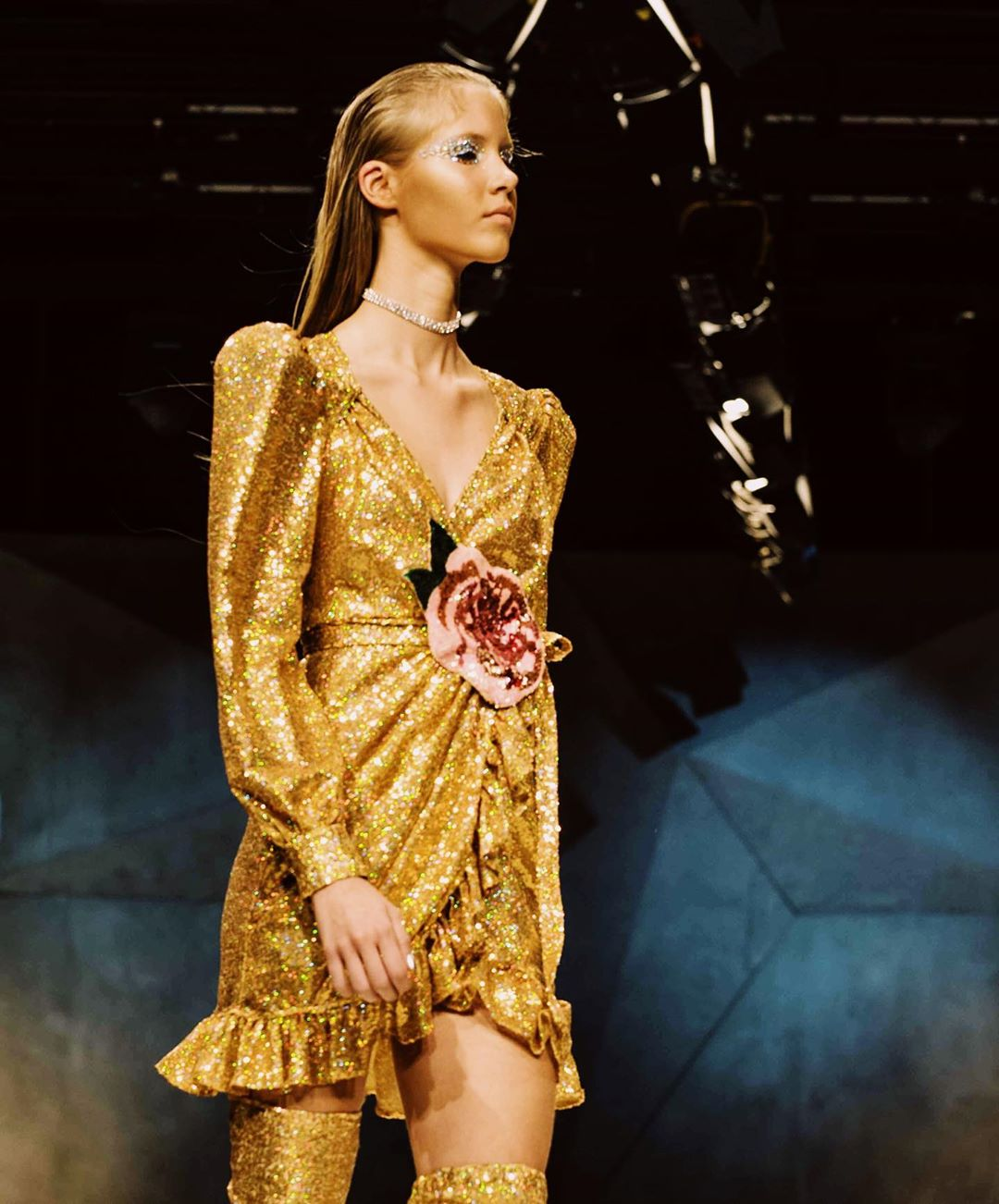 Short Gold Sequin Dress with a V-Neck, Rose and Full Princess Sleeves.
