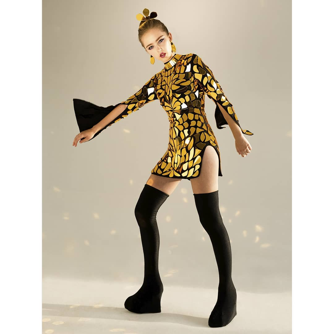 Gold Mirror Short Dress with Long Sleeves.