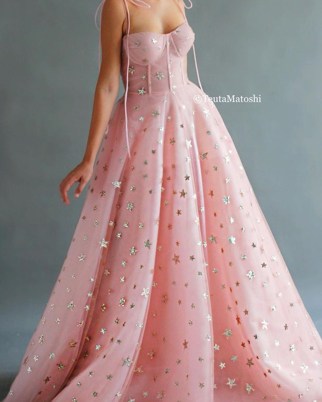 Light Pink Off The Shoulder Long Gown With Sequin Stars.